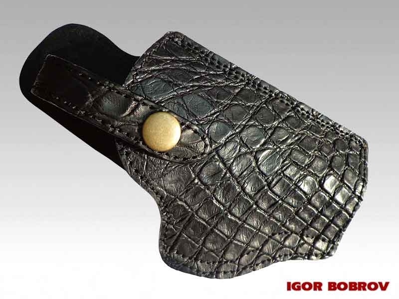 Кобура ПМ из кожи крокодила черная