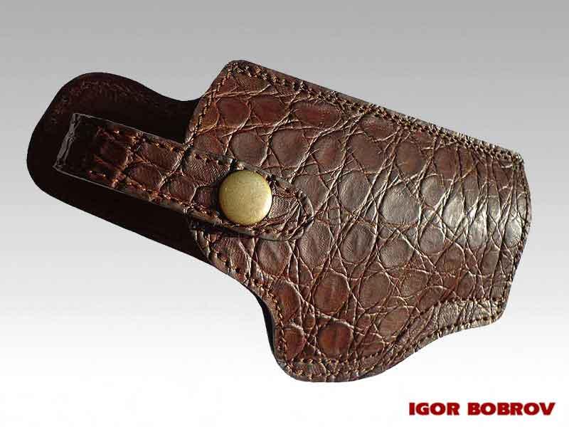 Кобура ПМ из кожи крокодила коричневая